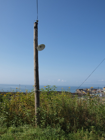 telephone poles: An old wooden telephone poles
