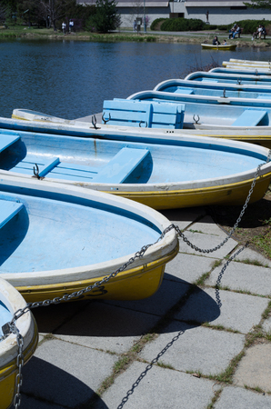 in lined: Boats lined up in the Park