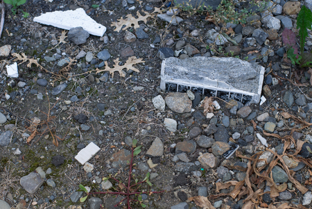 debris: Gravel on the ground and debris