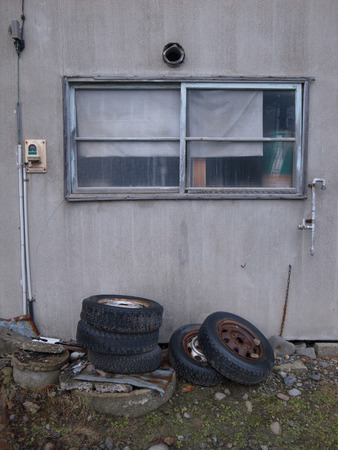 Old window and old tires