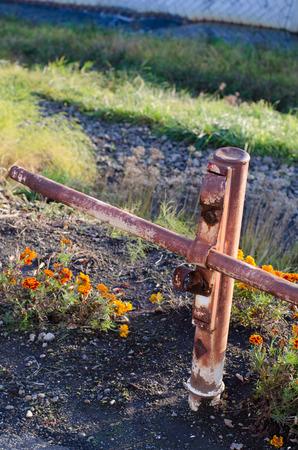 rusty: Rusty guardrail Stock Photo