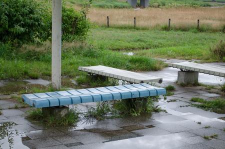 Bench on a rainy day Stok Fotoğraf