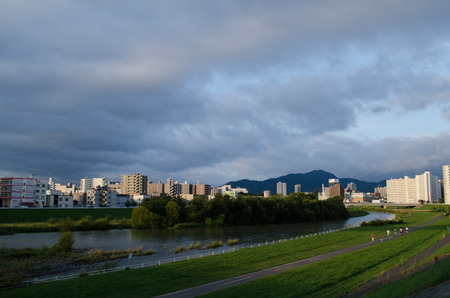 Toyohira river landscape Banco de Imagens