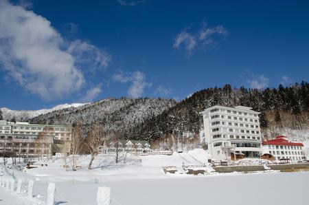 Lake Shibetsu only in winter Banco de Imagens
