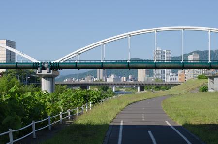 Toyohira river landscape Editorial