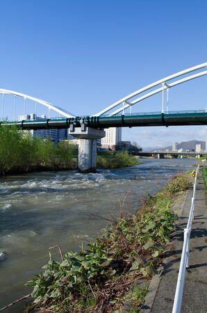Toyohira river landscape 写真素材