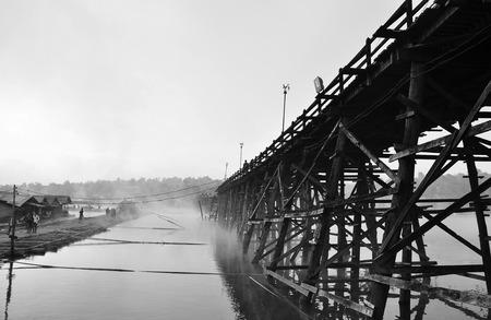 longest: The Longest Wooden Bridge in Kanchanaburi Thailand Stock Photo
