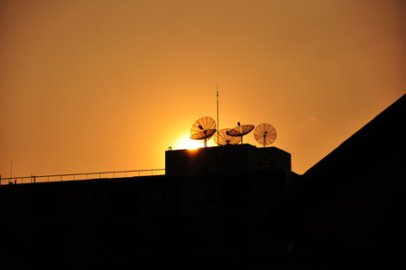 Sunset with Dish Aerial photo