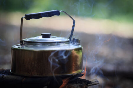 house ware: The kettle boils on campfires in the forest