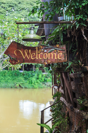 old sign: The old wellcome sign of the house in Thailand