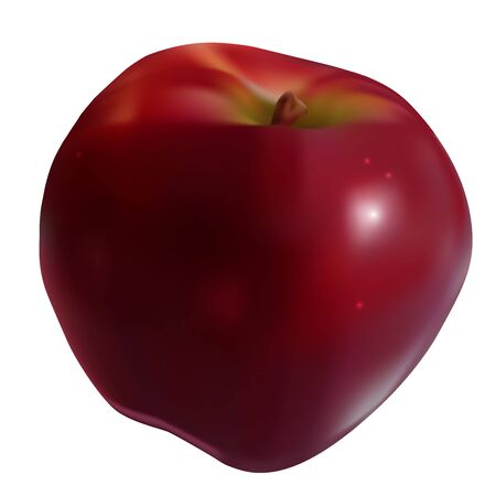 Vector eps 10 mesh photorealistic 3d tasty sweet red apple isolated on white