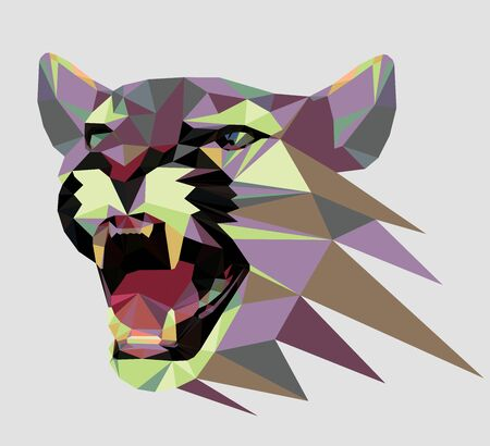 Low poly triangular growling cougar (), vector illustration   isolated. Polygonal style trendy modern logo design. Suitable for printing on a t-shirt. Illustration