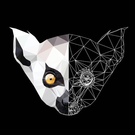 Low poly triangular lemur face on black background, illustration   isolated. Polygonal style trendy modern logo design. Suitable for printing on a t-shirt. Illustration