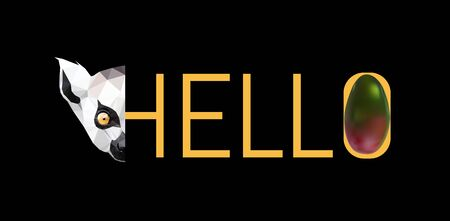 T shirt design Hello with cute lemur head and mango. Isolated on black,