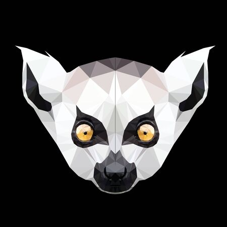 Low poly triangular lemur face on black background, illustration   isolated. Polygonal style trendy modern logo design. Suitable for printing on a t-shirt. 일러스트