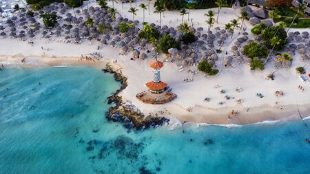 Dominican Republic Bayahibe beach Lighthouse aerial photo by drone. Crystal clear sea with beautiful beach.