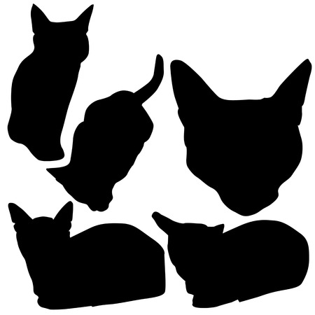 Vector Silhouettes of Cats  in different actions  Illustration