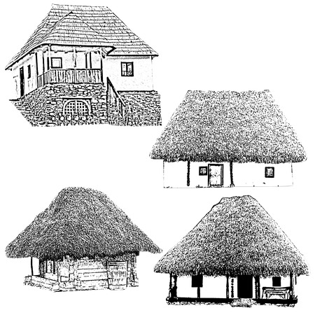 Set of old houses - Vintage illustration