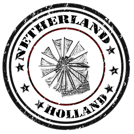 Grunge rubber stamp with windmill and the word Holland inside Illustration