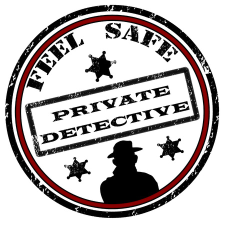 Private detective grunge rubber stamp on white, vector illustration