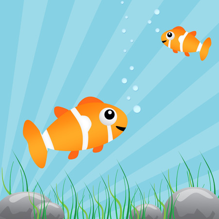 Two tropical fish under water, vector illustration Illustration