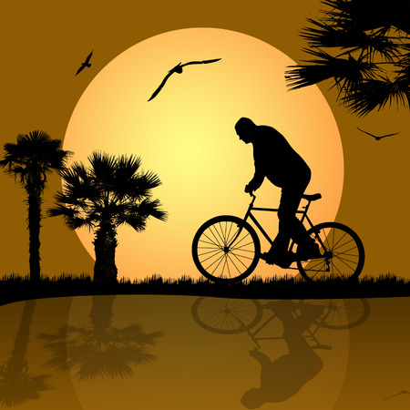 bicyclist on the abstract background Vector