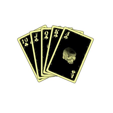 jack pack: detailed royal flush on white background