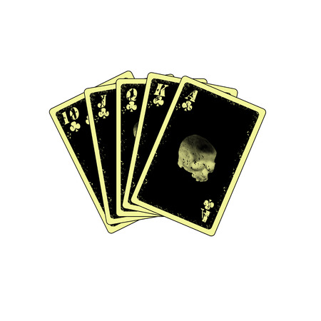 detailed royal flush on white background