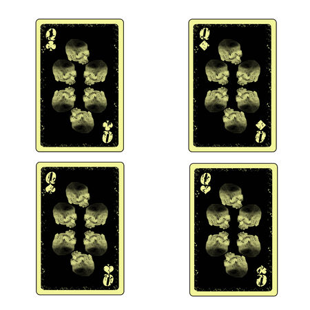 vector 4 queens playing cards icon Vector