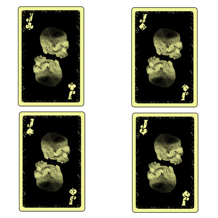 vector four skull jacks playing cards icon Vector