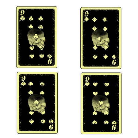 Vector four skull nine playing cards icon Vector