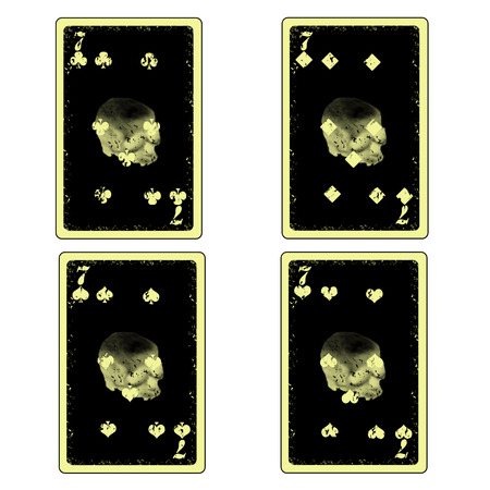 vector four skull seven playing cards icon Stock Vector - 26055743
