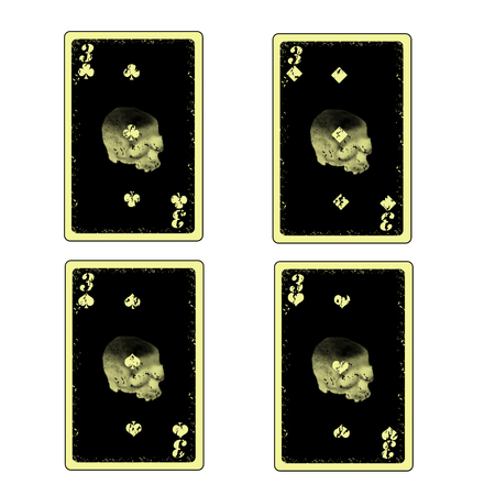 vector four skull three playing cards icon Vector