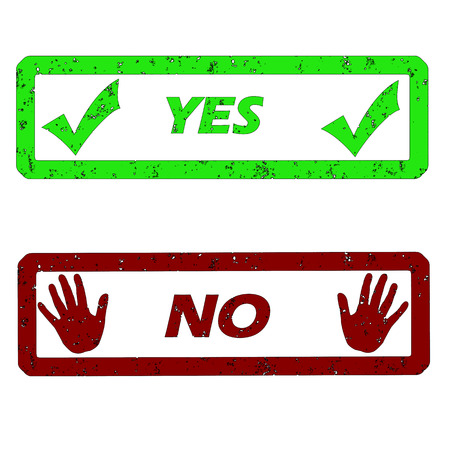 rubber stamps with yes and no vector illustration Illustration