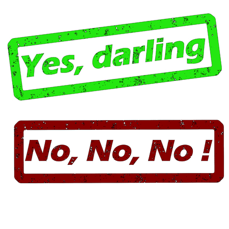 rubber stamps with yes darling and no vector illustration