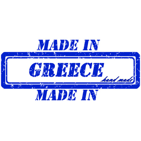 Rubber stamp made in greece hand made Illustration
