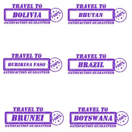 Set of stamps travel to bolivia,bhutan,brazil,brunei,botswana,burikina faso