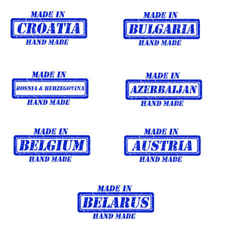 Set of stamps made in croatia,bulgaria,bosnia&herzegovina,azerbaijan,belgium,austria,belarus Illustration
