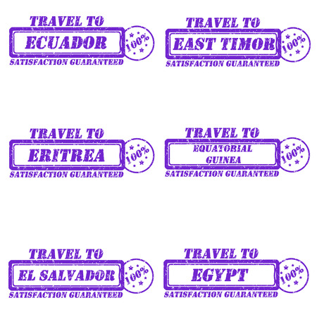 Set of stamps travel to ecuador,east timor,eritrea,equatorial guinea,el salvador,egypt Vector