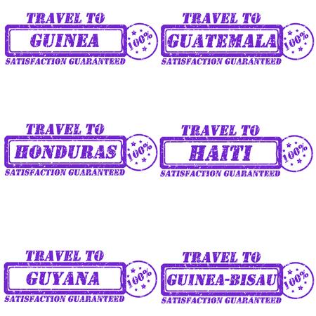 Set of stamps travel to guinea,guatemala,honduras,haiti,guyana,guinea-bisau Vector