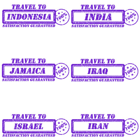 Set of stamps travel to indonesia,india,jamaica,iraq,israel,iran Vector