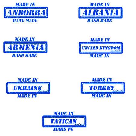 andorra: Set of stamps made in andorra,albania,armenia,united kingdom,ukraine,turkey,vatican