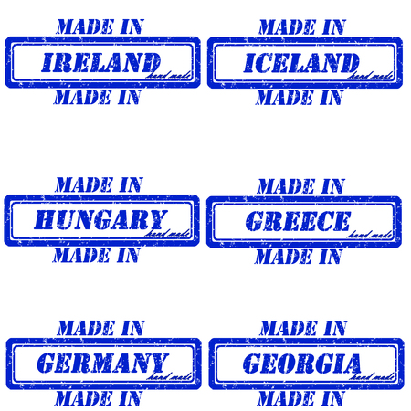 made in greece stamp: Set of stamps made in ireland,iceland,hungary,greece,germany,georgia