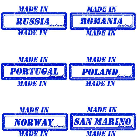 made in russia: Set of stamps made in russia,romania,portugal,poland,norway,san marino
