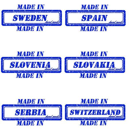 Set of stamps made in sweden.spain,slovenia,slovakia,serbia,switzerland Vector