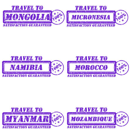 Set of stamps travel to mongolia,micronesia,namibia,morocco,mynamar,mozambique Vector