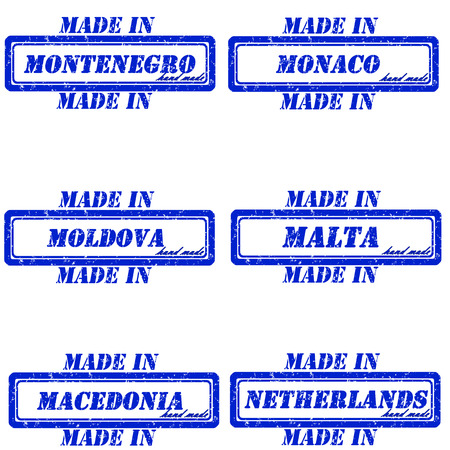 made in netherlands: Set of stamps made in montenegro,monaco,moldova,malta,macedonia,netherlands Illustration