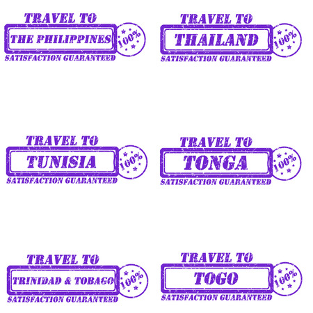 Set of stamps travel to the philippines,thailand,tunisia,tonga,togo,trinidad&tobago Vector