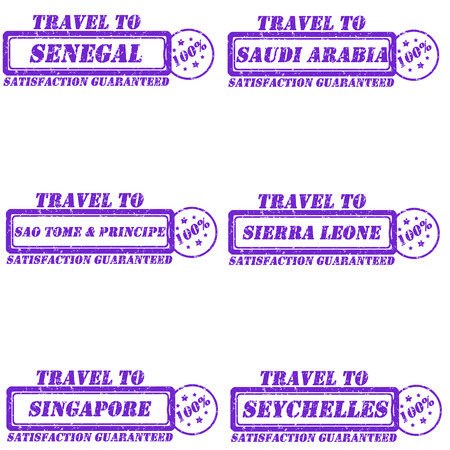 sierra: Set of stamps travel to senegal,saudi arabia,sao tome & principe,sierra leone,singapore,seychelles