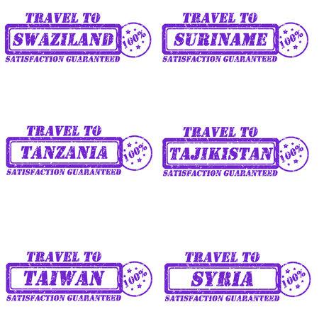 Set of stamps travel to swaziland,suriname,tanzania,tajikistan,taiwan,syria